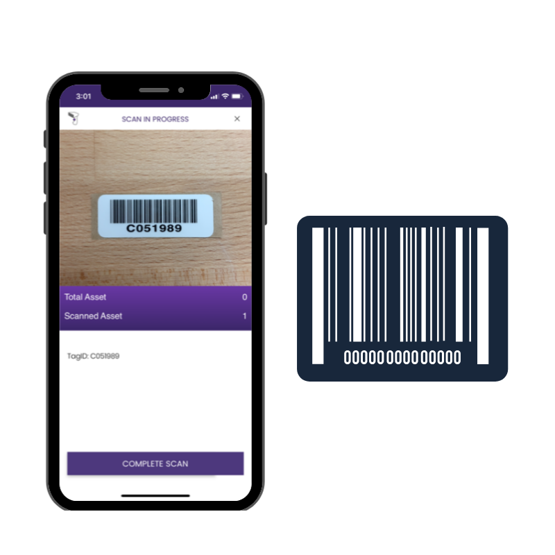 Fixed asset tracking using barcode